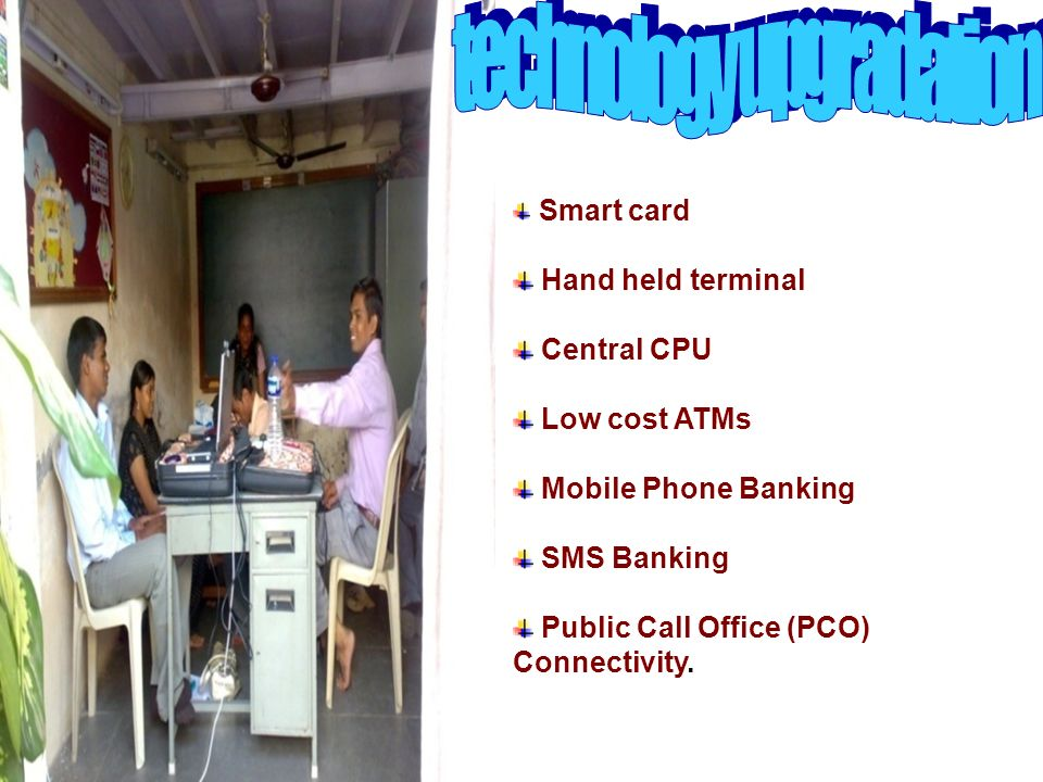Smart card Hand held terminal Central CPU Low cost ATMs Mobile Phone Banking SMS Banking Public Call Office (PCO) Connectivity.