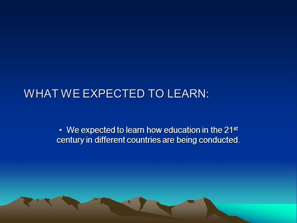 WHAT WE EXPECTED TO LEARN: W We expected to learn how education in the 21st century in different countries are being conducted.