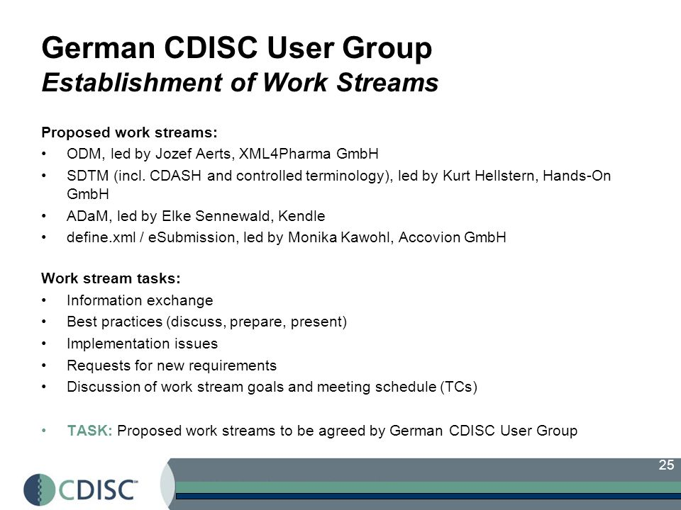 25 German CDISC User Group Establishment of Work Streams Proposed work streams: ODM, led by Jozef Aerts, XML4Pharma GmbH SDTM (incl.