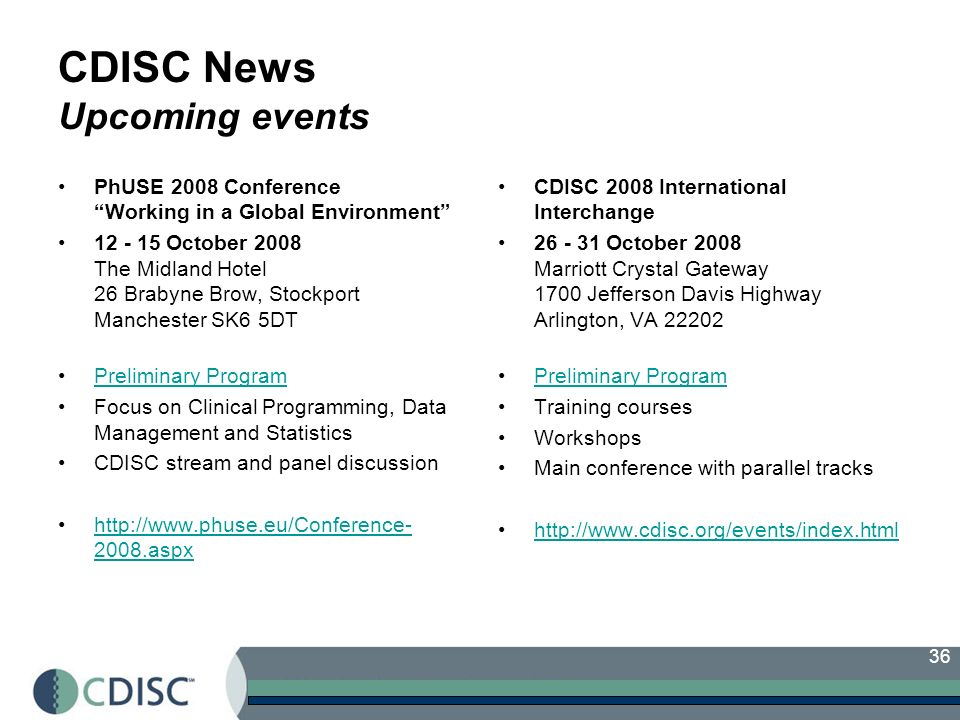 36 CDISC News Upcoming events PhUSE 2008 Conference Working in a Global Environment October 2008 The Midland Hotel 26 Brabyne Brow, Stockport Manchester SK6 5DT Preliminary Program Focus on Clinical Programming, Data Management and Statistics CDISC stream and panel discussion aspxhttp:// aspx CDISC 2008 International Interchange October 2008 Marriott Crystal Gateway 1700 Jefferson Davis Highway Arlington, VA Preliminary Program Training courses Workshops Main conference with parallel tracks