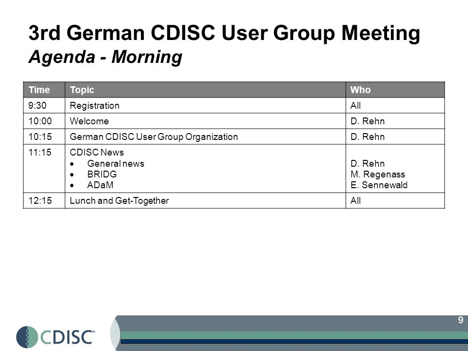 9 3rd German CDISC User Group Meeting Agenda - Morning TimeTopicWho 9:30RegistrationAll 10:00WelcomeD.