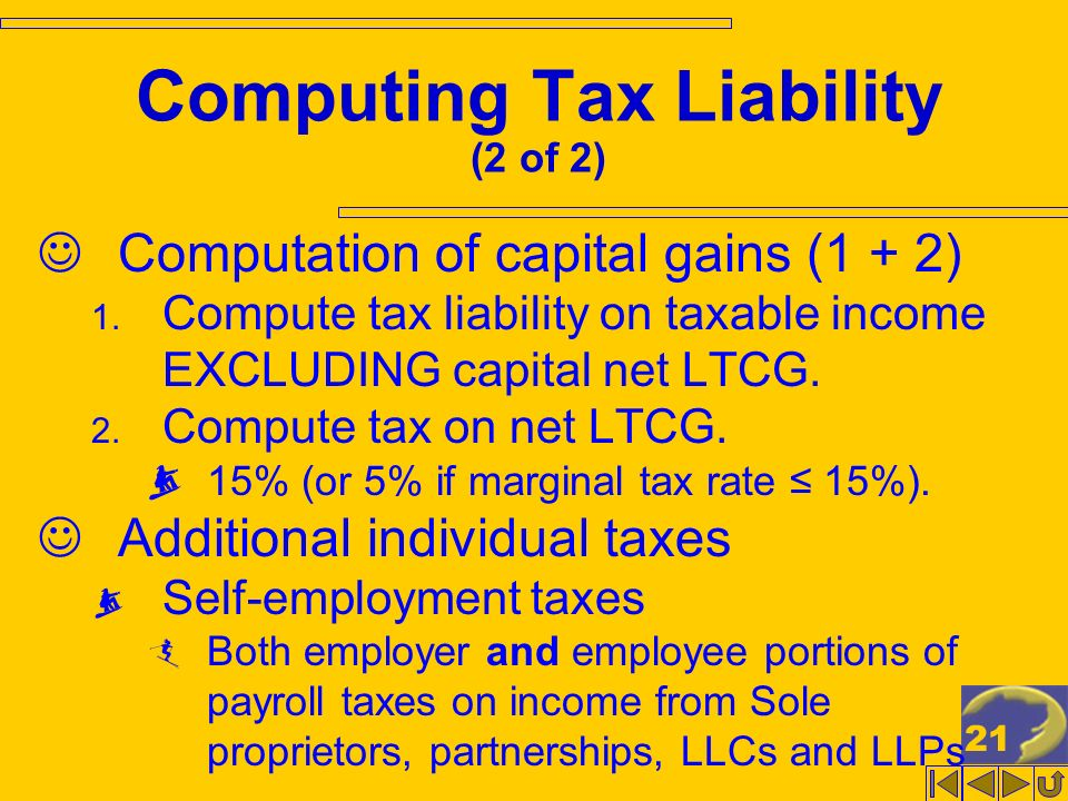 21 Computing Tax Liability (2 of 2) Computation of capital gains (1 + 2) 1.