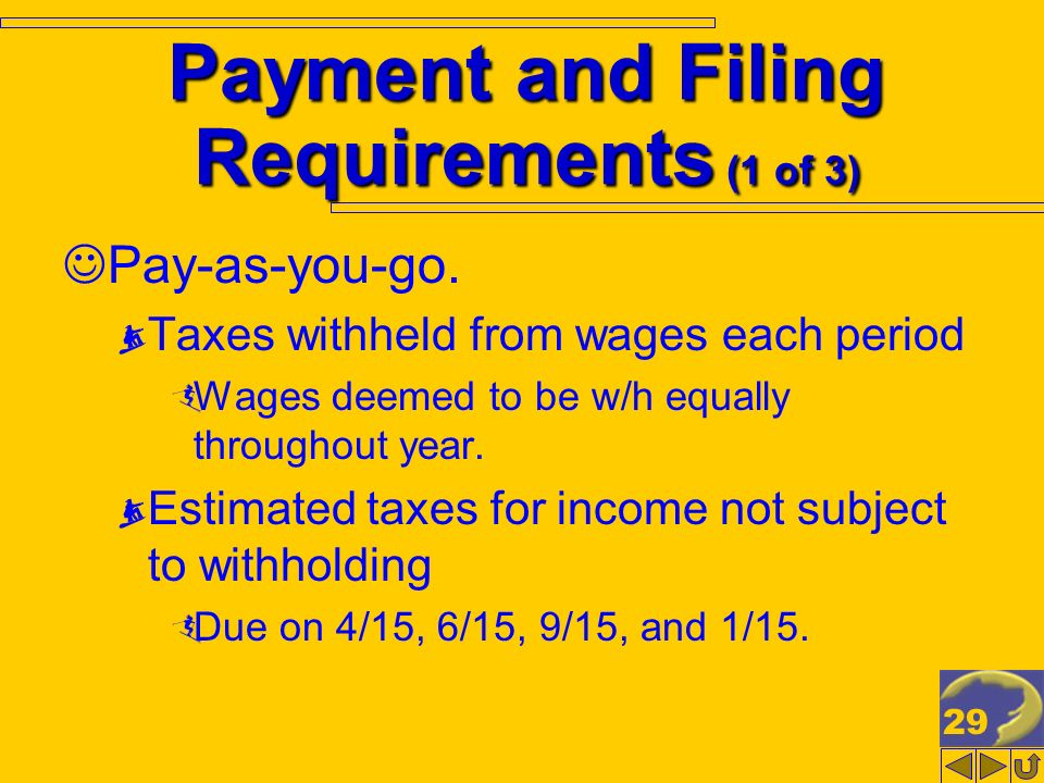 29 Payment and Filing Requirements (1 of 3) Pay-as-you-go.