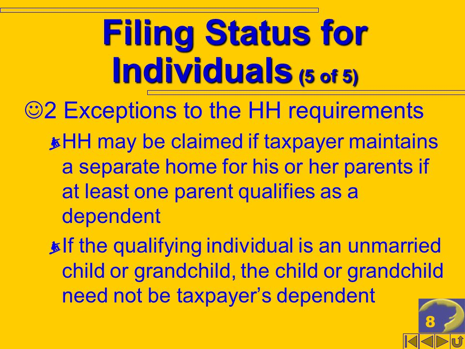 8 Filing Status for Individuals (5 of 5) 2 Exceptions to the HH requirements HH may be claimed if taxpayer maintains a separate home for his or her parents if at least one parent qualifies as a dependent If the qualifying individual is an unmarried child or grandchild, the child or grandchild need not be taxpayers dependent