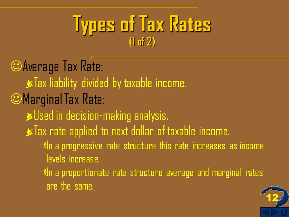 12 Types of Tax Rates (1 of 2) Average Tax Rate: Tax liability divided by taxable income.