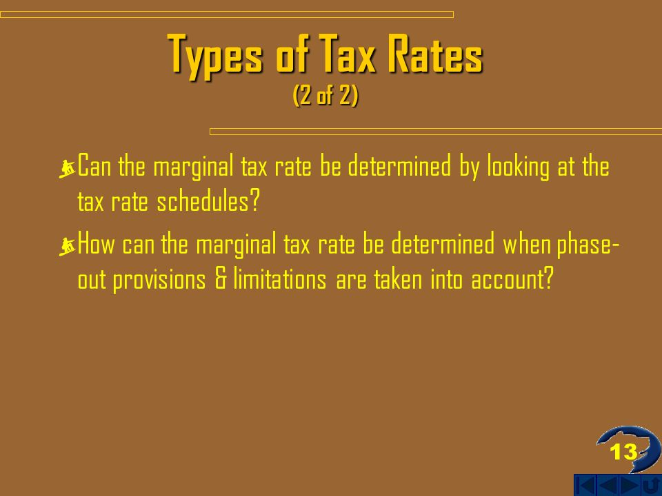 13 Types of Tax Rates (2 of 2) Can the marginal tax rate be determined by looking at the tax rate schedules.