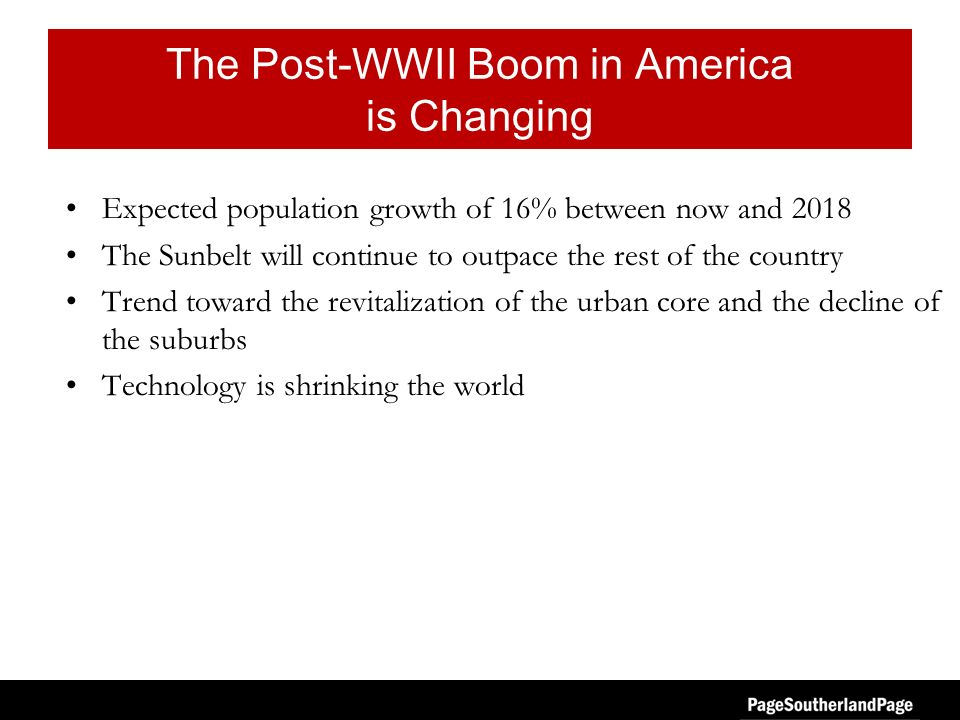 The Post-WWII Boom in America is Changing Expected population growth of 16% between now and 2018 The Sunbelt will continue to outpace the rest of the country Trend toward the revitalization of the urban core and the decline of the suburbs Technology is shrinking the world