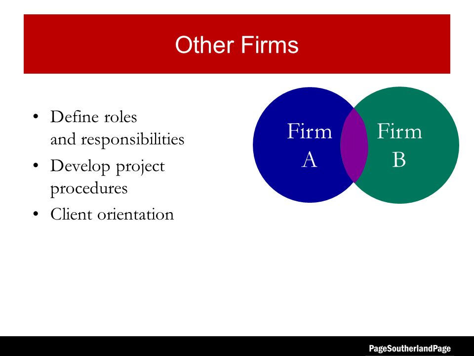 Other Firms Define roles and responsibilities Develop project procedures Client orientation Firm A Firm B