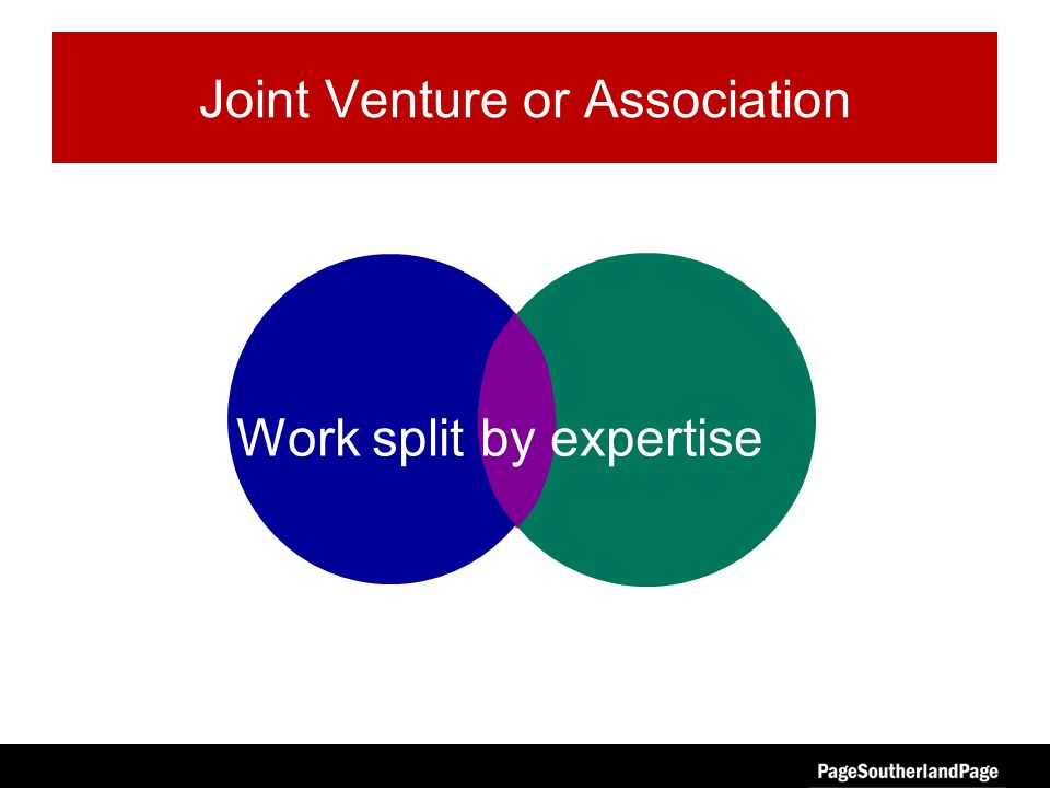 Joint Venture or Association Work split by expertise