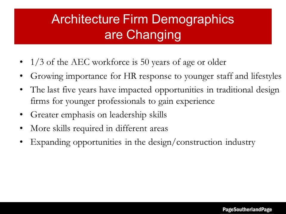 Architecture Firm Demographics are Changing 1/3 of the AEC workforce is 50 years of age or older Growing importance for HR response to younger staff and lifestyles The last five years have impacted opportunities in traditional design firms for younger professionals to gain experience Greater emphasis on leadership skills More skills required in different areas Expanding opportunities in the design/construction industry