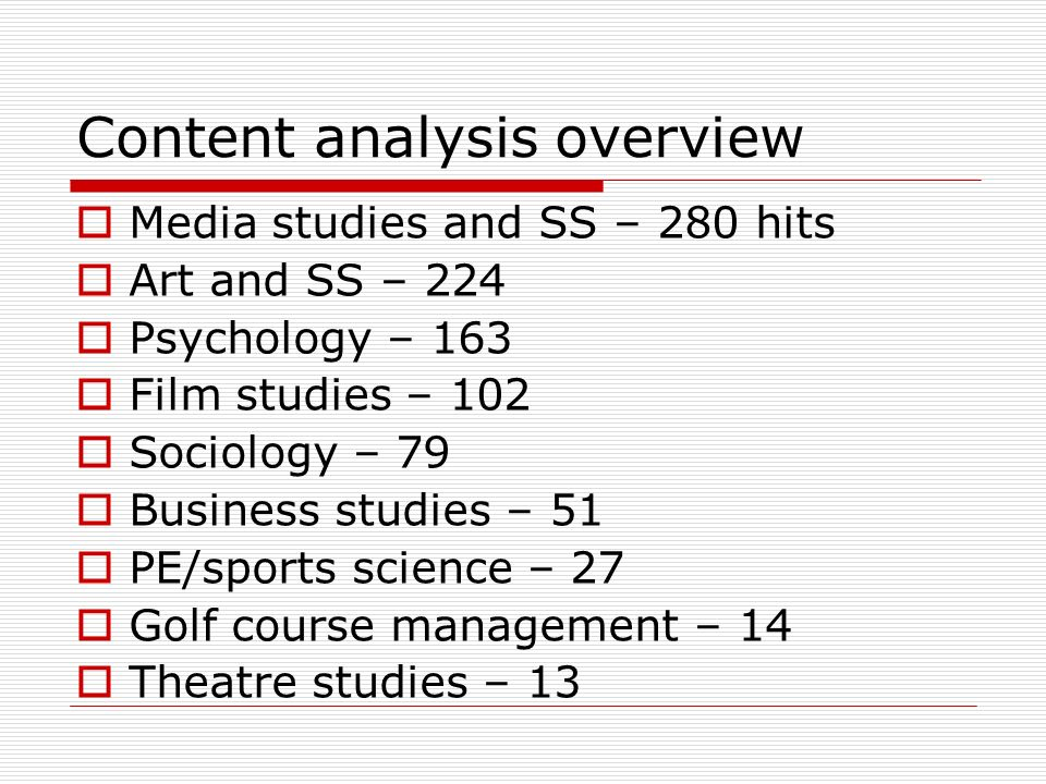 Content analysis overview Media studies and SS – 280 hits Art and SS – 224 Psychology – 163 Film studies – 102 Sociology – 79 Business studies – 51 PE/sports science – 27 Golf course management – 14 Theatre studies – 13