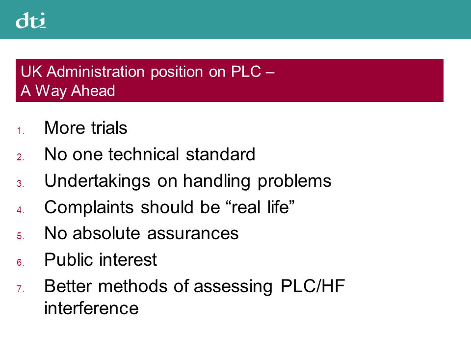 UK Administration position on PLC – A Way Ahead 1.