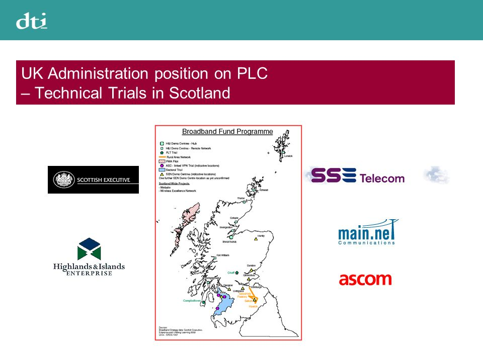 UK Administration position on PLC – Technical Trials in Scotland
