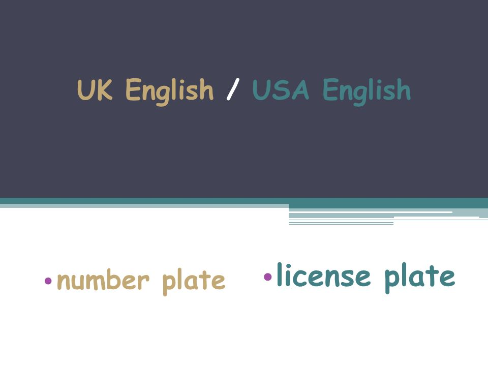 UK English / USA English number plate license plate