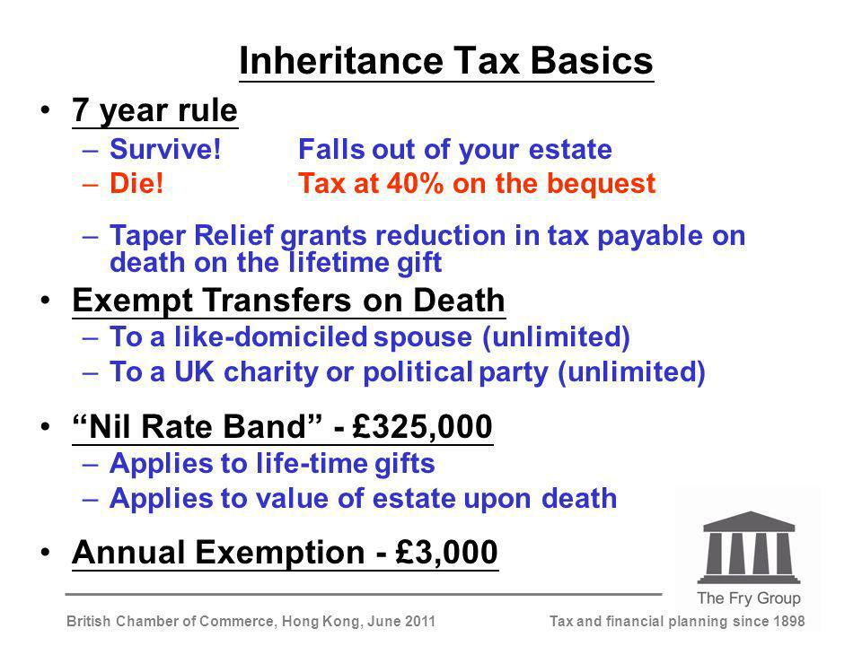 Tax and financial planning since 1898British Chamber of Commerce, Hong Kong, June 2011 Inheritance Tax Basics 7 year rule –Survive!Falls out of your estate –Die!Tax at 40% on the bequest –Taper Relief grants reduction in tax payable on death on the lifetime gift Exempt Transfers on Death –To a like-domiciled spouse (unlimited) –To a UK charity or political party (unlimited) Nil Rate Band - £325,000 –Applies to life-time gifts –Applies to value of estate upon death Annual Exemption - £3,000