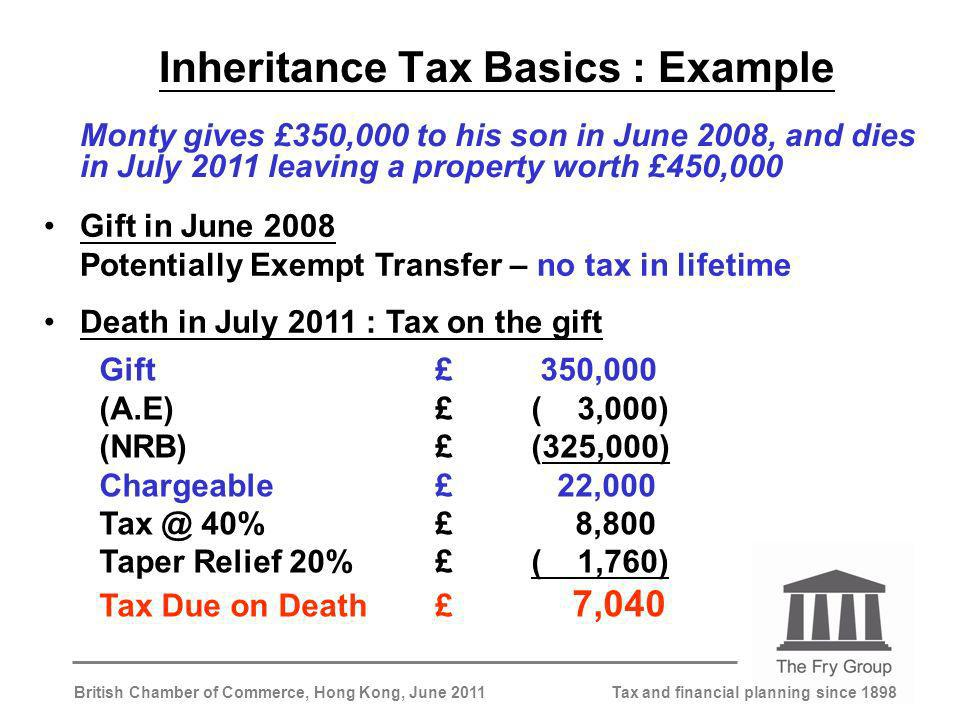 Tax and financial planning since 1898British Chamber of Commerce, Hong Kong, June 2011 Inheritance Tax Basics : Example Monty gives £350,000 to his son in June 2008, and dies in July 2011 leaving a property worth £450,000 Gift in June 2008 Potentially Exempt Transfer – no tax in lifetime Death in July 2011 : Tax on the gift Gift£ 350,000 (A.E)£( 3,000) (NRB)£(325,000) Chargeable£ 22,000 Tax @ 40%£ 8,800 Taper Relief 20%£( 1,760) Tax Due on Death£ 7,040