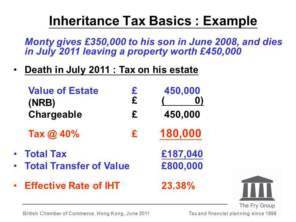 Tax and financial planning since 1898British Chamber of Commerce, Hong Kong, June 2011 Inheritance Tax Basics : Example Monty gives £350,000 to his son in June 2008, and dies in July 2011 leaving a property worth £450,000 Death in July 2011 : Tax on his estate Value of Estate£ 450,000 (NRB) Chargeable£ 450,000 Tax @ 40%£ 180,000 Total Tax£187,040 Total Transfer of Value£800,000 Effective Rate of IHT23.38% £( 0)