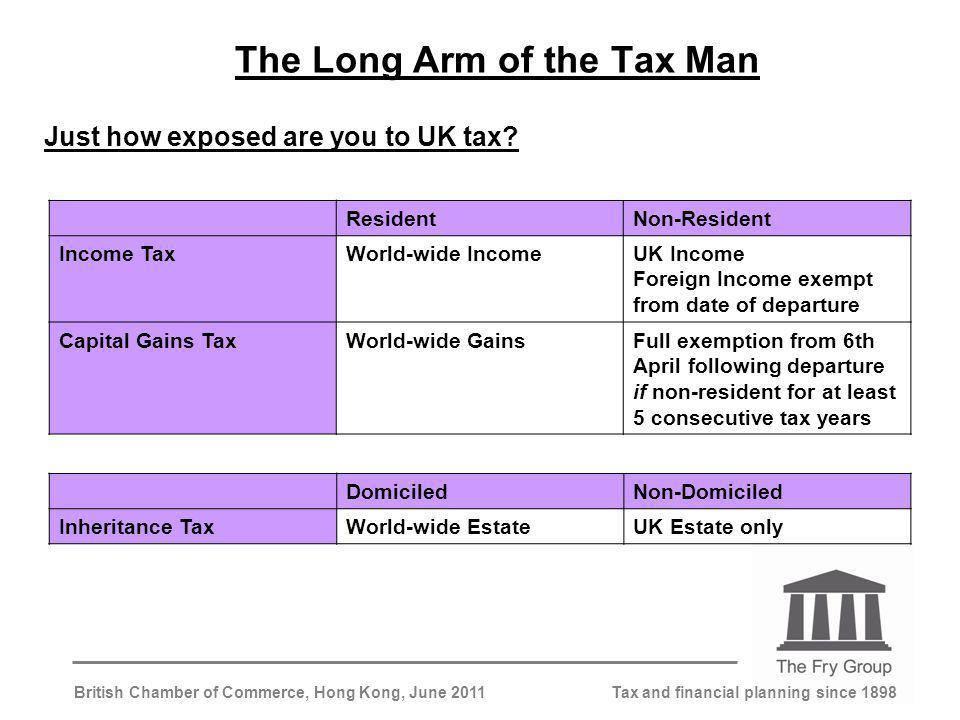 Tax and financial planning since 1898British Chamber of Commerce, Hong Kong, June 2011 The Long Arm of the Tax Man Just how exposed are you to UK tax.