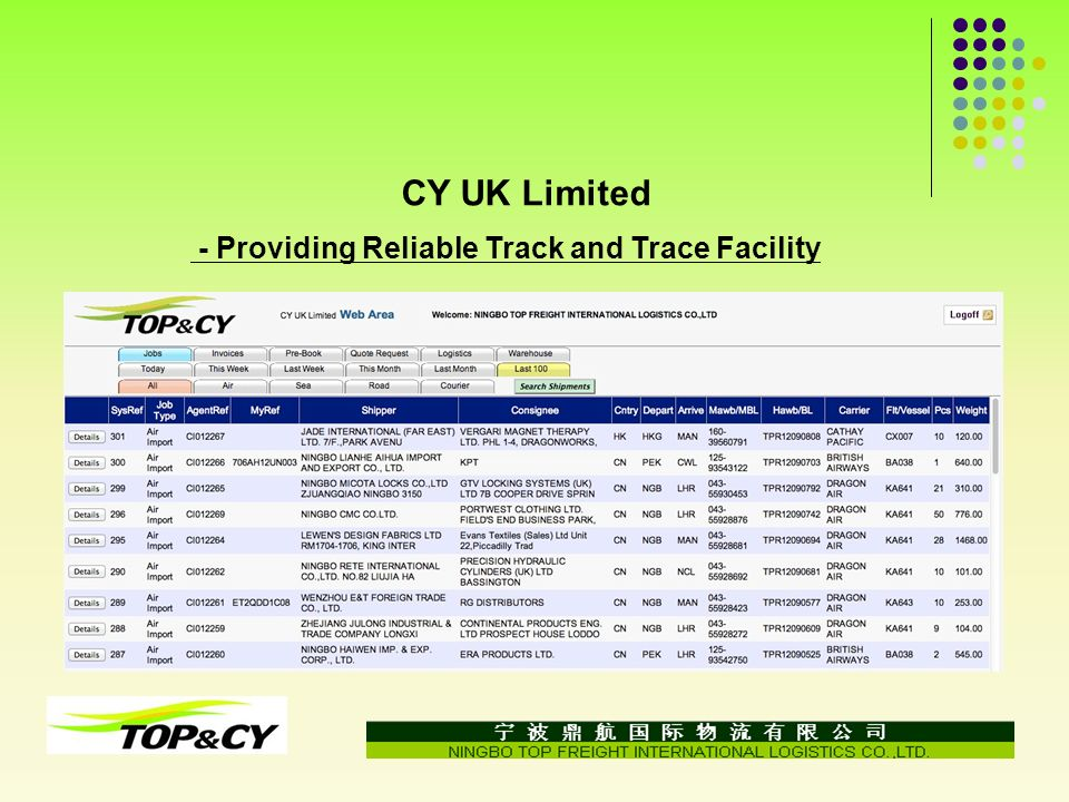 CY UK Limited - Providing Reliable Track and Trace Facility