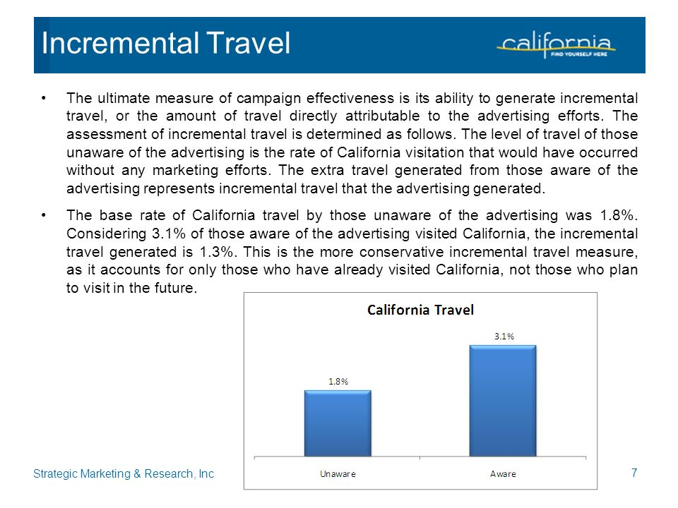The ultimate measure of campaign effectiveness is its ability to generate incremental travel, or the amount of travel directly attributable to the advertising efforts.