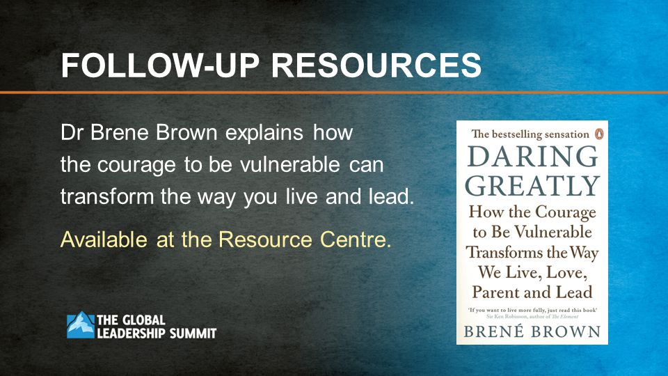 FOLLOW-UP RESOURCES Dr Brene Brown explains how the courage to be vulnerable can transform the way you live and lead.