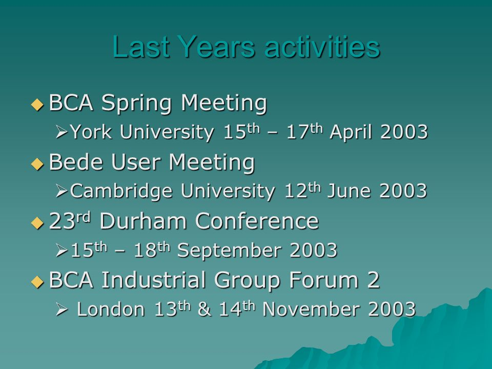 Last Years activities BCA Spring Meeting BCA Spring Meeting York University 15 th – 17 th April 2003 York University 15 th – 17 th April 2003 Bede User Meeting Bede User Meeting Cambridge University 12 th June 2003 Cambridge University 12 th June rd Durham Conference 23 rd Durham Conference 15 th – 18 th September th – 18 th September 2003 BCA Industrial Group Forum 2 BCA Industrial Group Forum 2 London 13 th & 14 th November 2003 London 13 th & 14 th November 2003