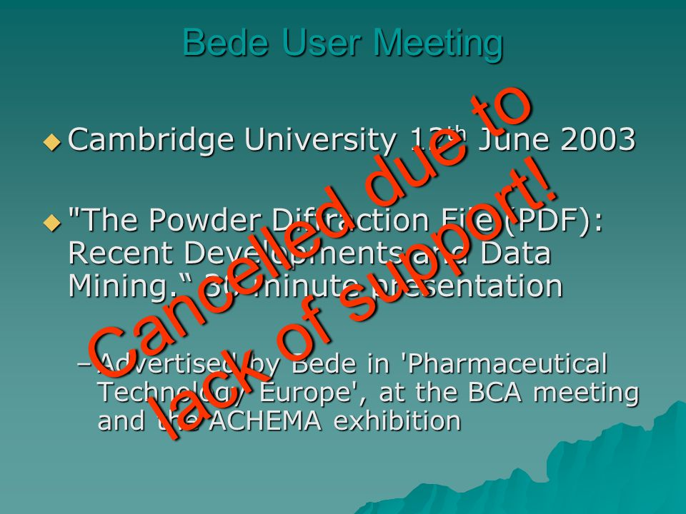Bede User Meeting Cambridge University 12 th June 2003 Cambridge University 12 th June 2003 The Powder Diffraction File (PDF): Recent Developments and Data Mining.