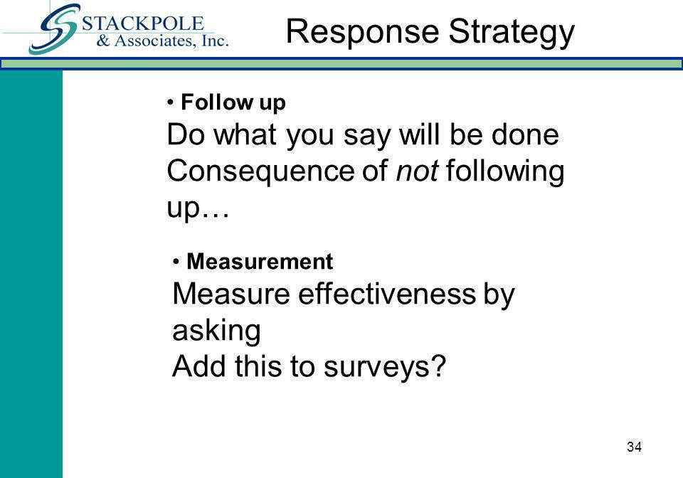 34 Follow up Do what you say will be done Consequence of not following up… Measurement Measure effectiveness by asking Add this to surveys.