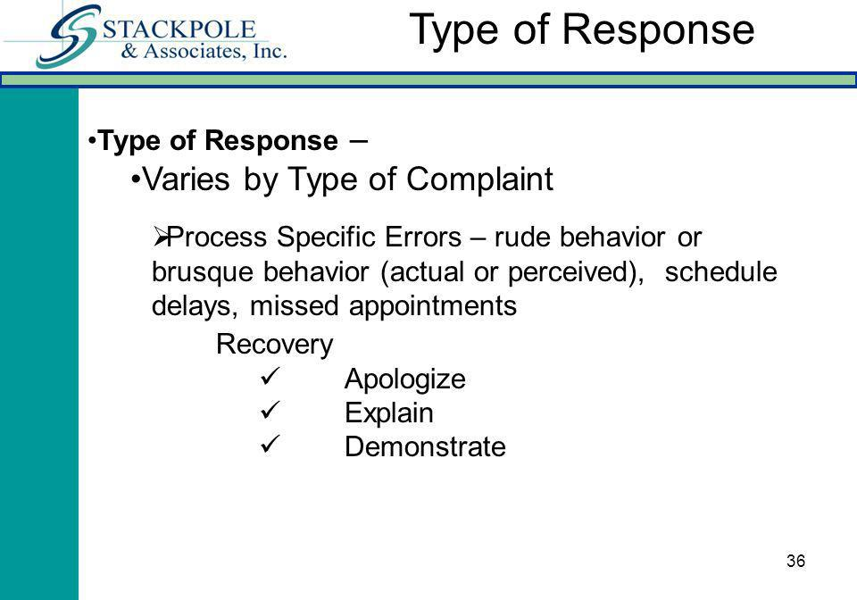 36 Type of Response – Varies by Type of Complaint Process Specific Errors – rude behavior or brusque behavior (actual or perceived), schedule delays, missed appointments Type of Response Recovery Apologize Explain Demonstrate