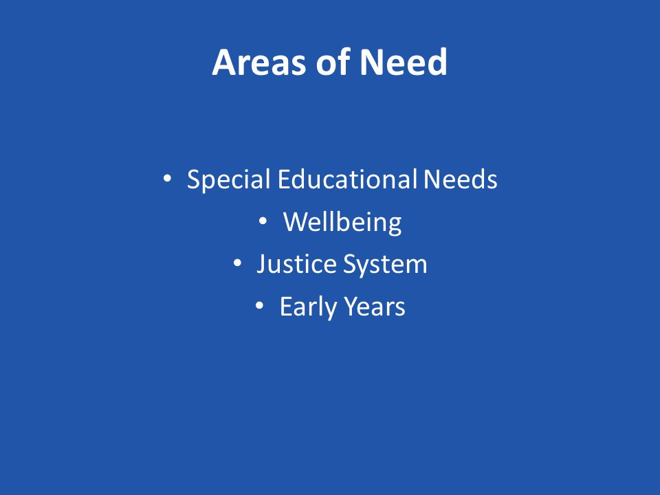 Areas of Need Special Educational Needs Wellbeing Justice System Early Years