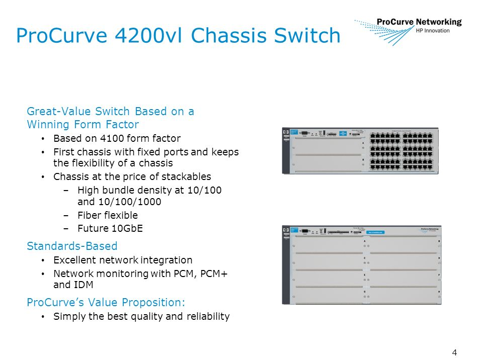 4 ProCurve 4200vl Chassis Switch Great-Value Switch Based on a Winning Form Factor Based on 4100 form factor First chassis with fixed ports and keeps the flexibility of a chassis Chassis at the price of stackables –High bundle density at 10/100 and 10/100/1000 –Fiber flexible –Future 10GbE Standards-Based Excellent network integration Network monitoring with PCM, PCM+ and IDM ProCurves Value Proposition: Simply the best quality and reliability