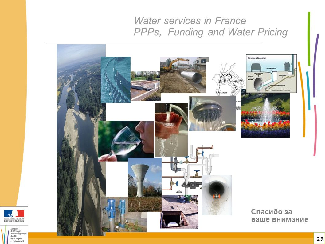 29 Water services in France PPPs, Funding and Water Pricing Спасибо за ваше внимание
