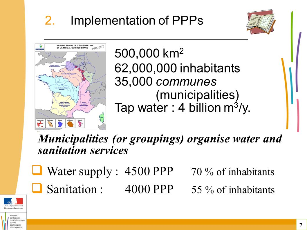 7 7 public-private partnerships in France 500,000 km 2 62,000,000 inhabitants 35,000 communes (municipalities) Tap water : 4 billion m 3 /y.