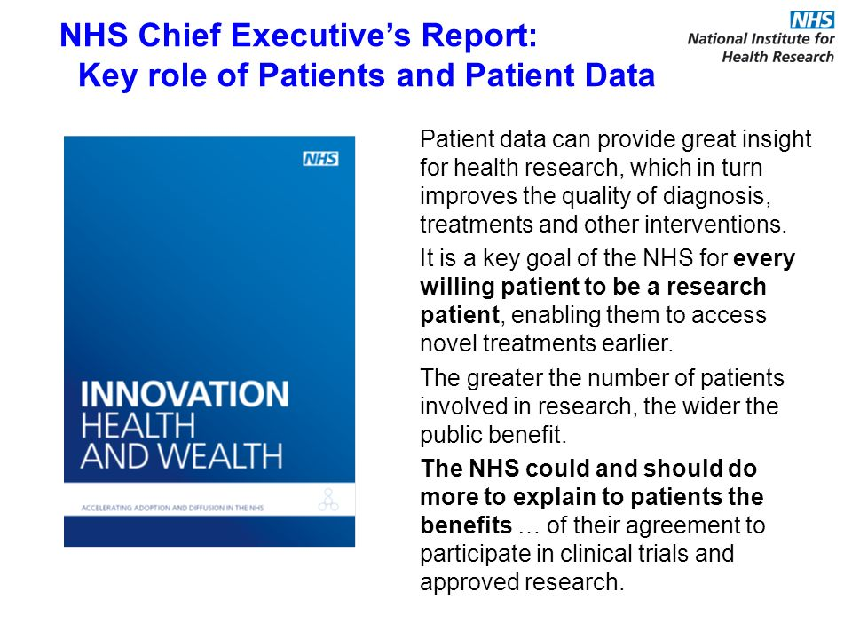 Patient data can provide great insight for health research, which in turn improves the quality of diagnosis, treatments and other interventions.