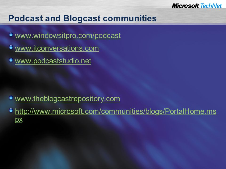 Podcast and Blogcast communities px