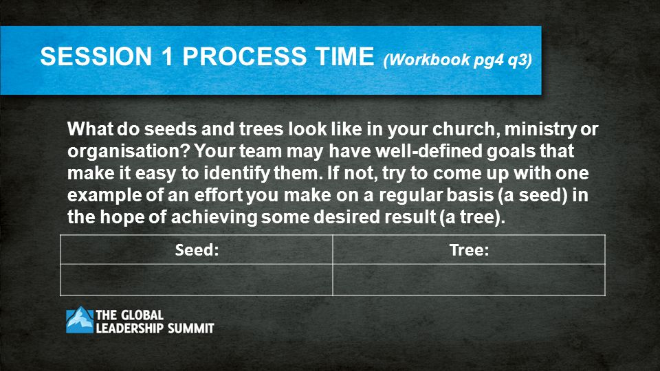 What do seeds and trees look like in your church, ministry or organisation.