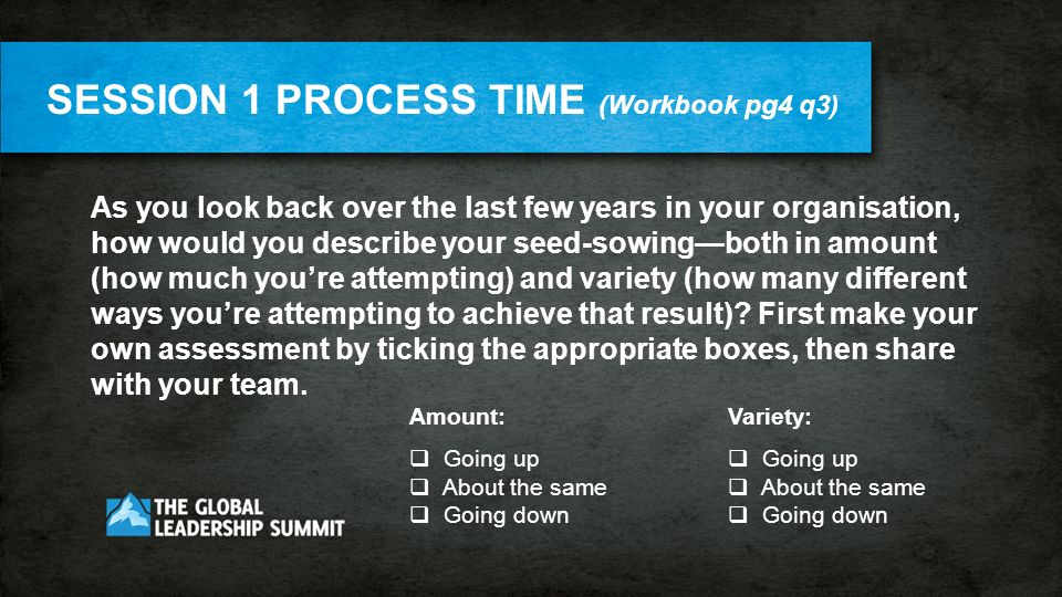 SESSION 1 PROCESS TIME (Workbook pg4 q3) As you look back over the last few years in your organisation, how would you describe your seed-sowingboth in amount (how much youre attempting) and variety (how many different ways youre attempting to achieve that result).