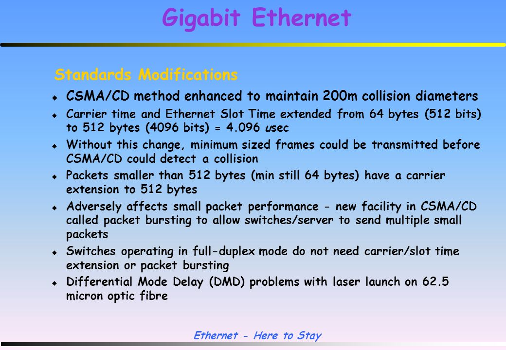 Ethernet - Here to Stay 1996 Gigabit Ethernet developed IEEE 802.3z approved 1997 Leonard Kleinrock of UCLA helped define the mathematical limits of Ethernet, and for naming CSMA/CD).