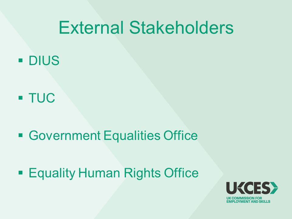 External Stakeholders DIUS TUC Government Equalities Office Equality Human Rights Office