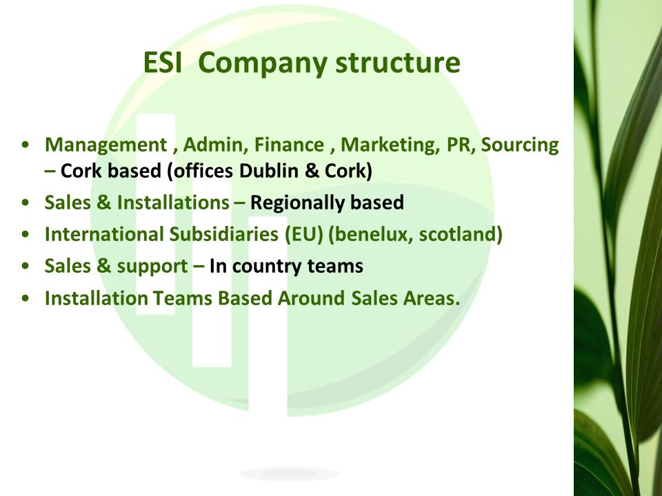 ESI Company structure Management, Admin, Finance, Marketing, PR, Sourcing – Cork based (offices Dublin & Cork) Sales & Installations – Regionally based International Subsidiaries (EU) (benelux, scotland) Sales & support – In country teams Installation Teams Based Around Sales Areas.