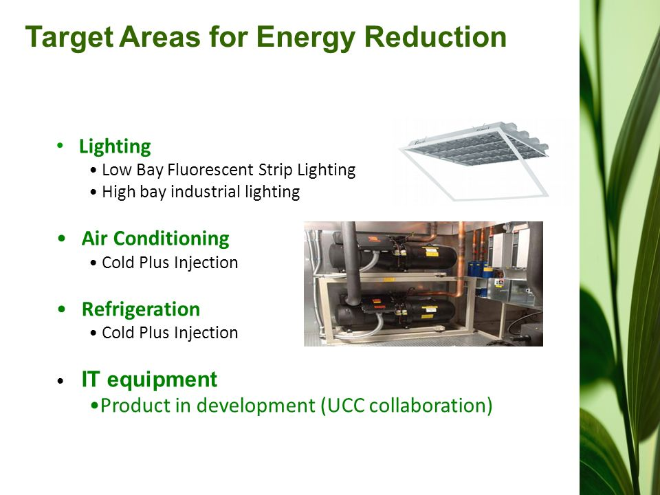 Target Areas for Energy Reduction Lighting Low Bay Fluorescent Strip Lighting High bay industrial lighting Air Conditioning Cold Plus Injection Refrigeration Cold Plus Injection IT equipment Product in development (UCC collaboration)