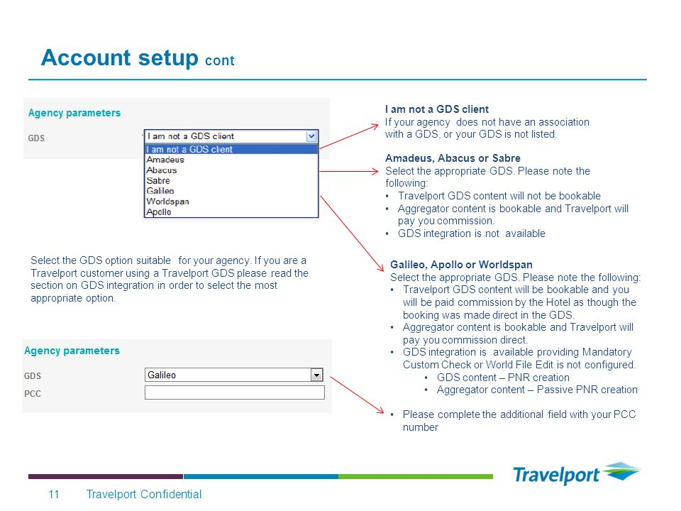 Account setup cont Travelport Confidential11 Select the GDS option suitable for your agency.