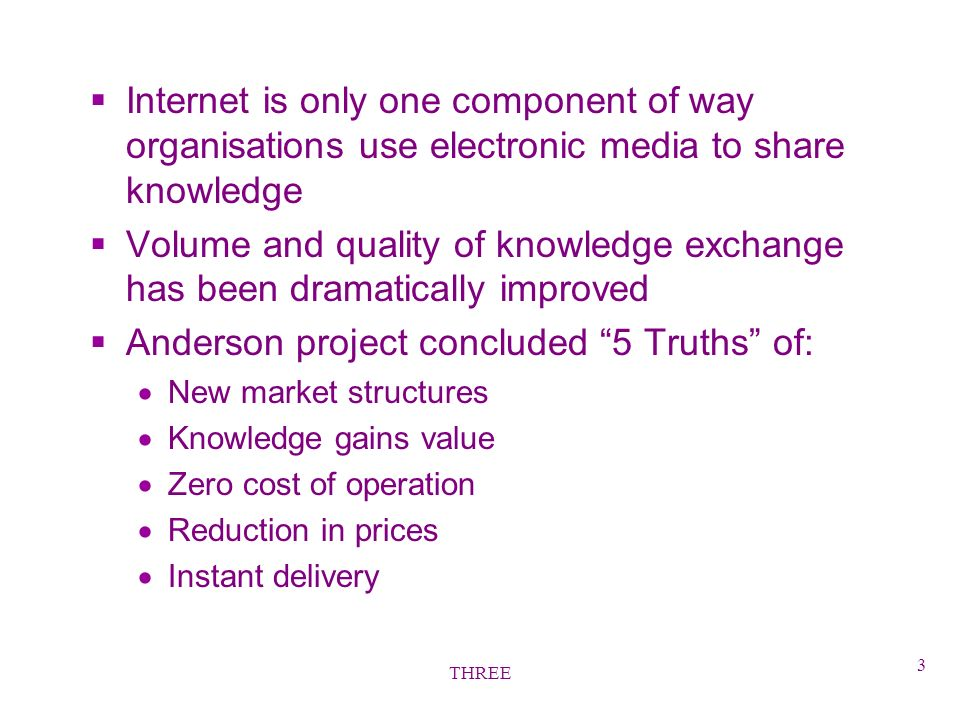 THREE 3 §Internet is only one component of way organisations use electronic media to share knowledge §Volume and quality of knowledge exchange has been dramatically improved §Anderson project concluded 5 Truths of: New market structures Knowledge gains value Zero cost of operation Reduction in prices Instant delivery