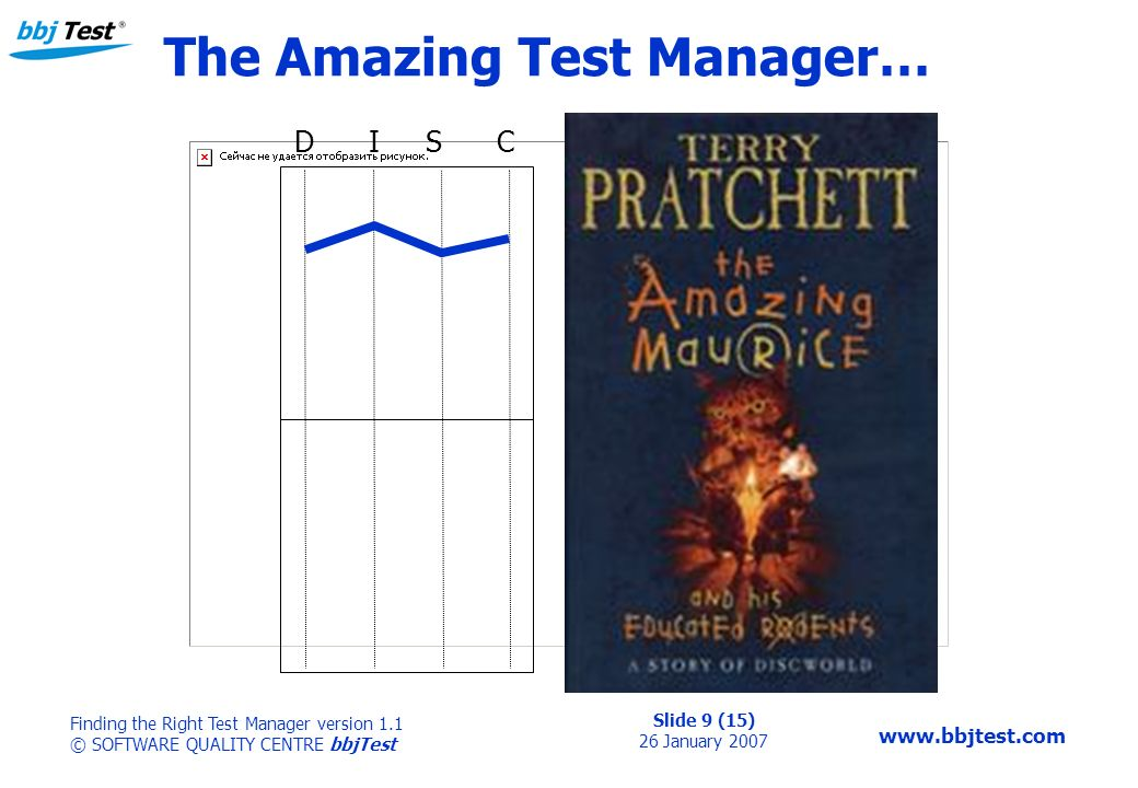 Slide 9 (15) 26 January 2007 Finding the Right Test Manager version 1.1 © SOFTWARE QUALITY CENTRE bbjTest   The Amazing Test Manager… D I S C