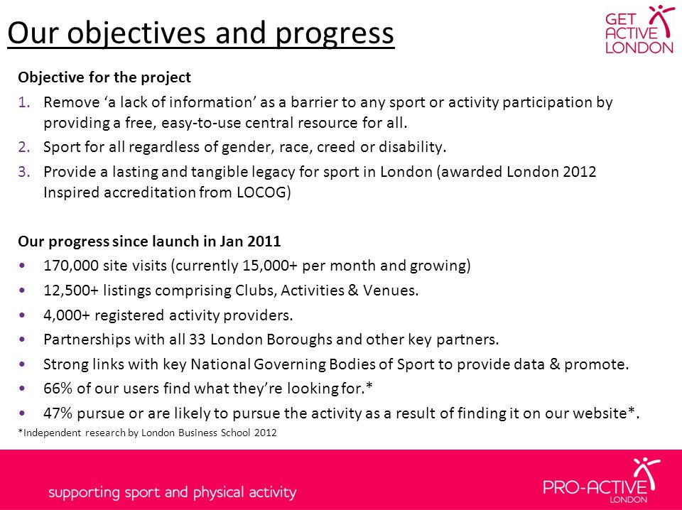 Our objectives and progress Objective for the project 1.Remove a lack of information as a barrier to any sport or activity participation by providing a free, easy-to-use central resource for all.