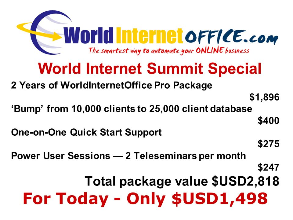 2 Years of WorldInternetOffice Pro Package $1,896 Bump from 10,000 clients to 25,000 client database $400 One-on-One Quick Start Support $275 Power User Sessions 2 Teleseminars per month $247 Total package value $USD2,818 For Today - Only $USD1,498 World Internet Summit Special