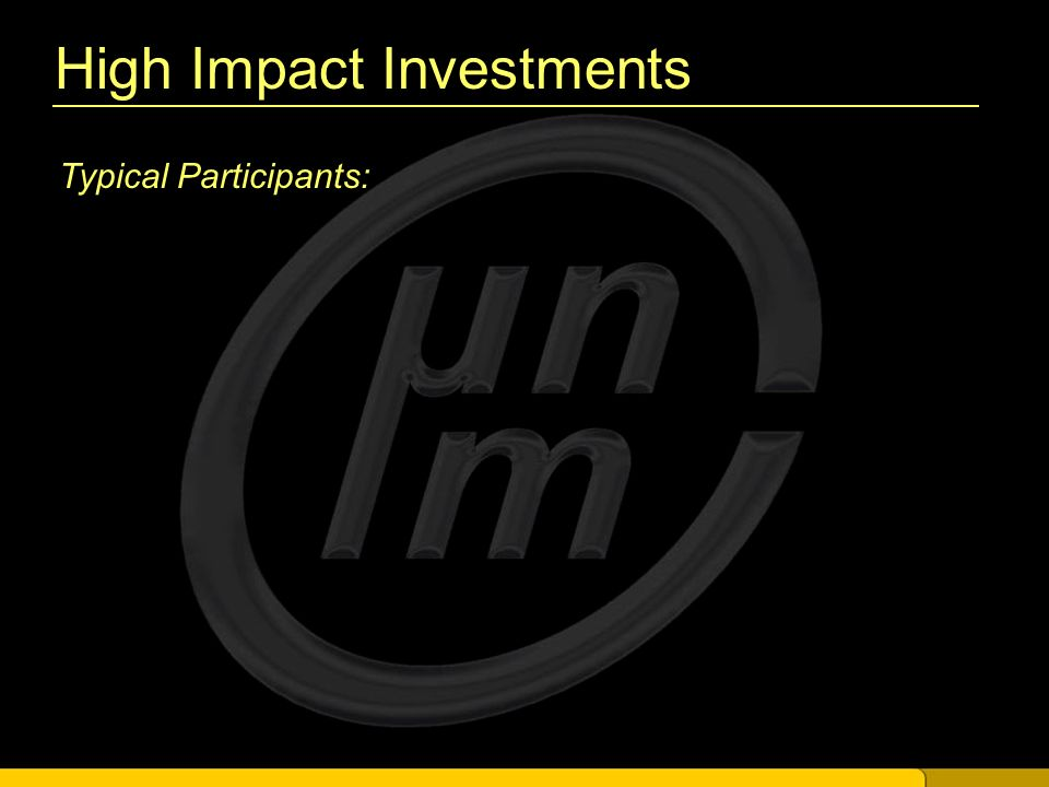 High Impact Investments Typical Participants: