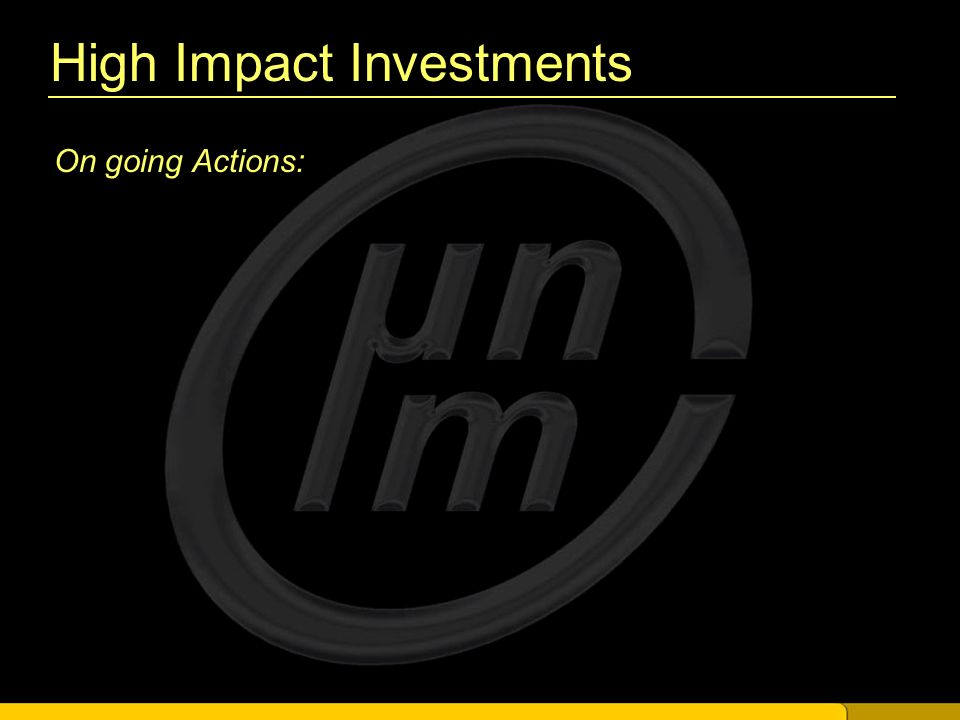 High Impact Investments On going Actions: