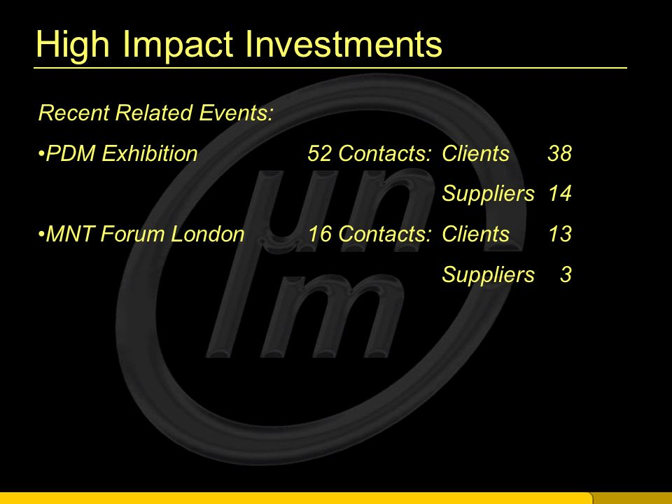 High Impact Investments Recent Related Events: PDM Exhibition 52 Contacts:Clients 38 Suppliers 14 MNT Forum London16 Contacts:Clients 13 Suppliers 3