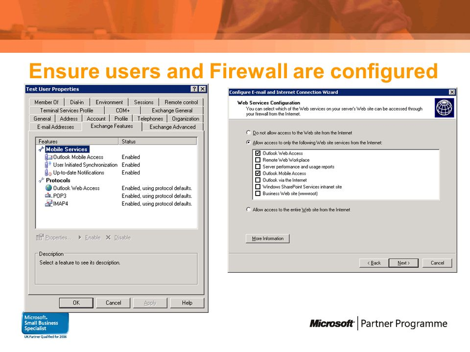 Ensure users and Firewall are configured